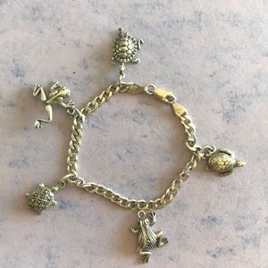 Jewelry - Sterling Silver Charm Bracelet Frogs and Turtles
